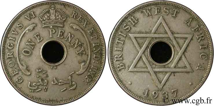 AFRIQUE OCCIDENTALE BRITANNIQUE 1 Penny Georges VI 1937 Kings Norton - KN TTB
