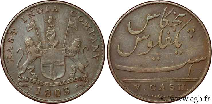 INDE 5 Cash Madras East India Company 1803  TTB