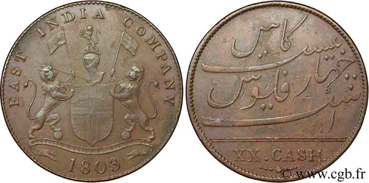 INDE 20 Cash Madras East India Company 1803  TTB