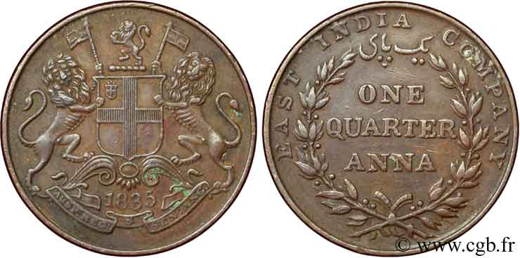 INDES BRITANNIQUES 1/4 Anna East India Company 1835  SUP