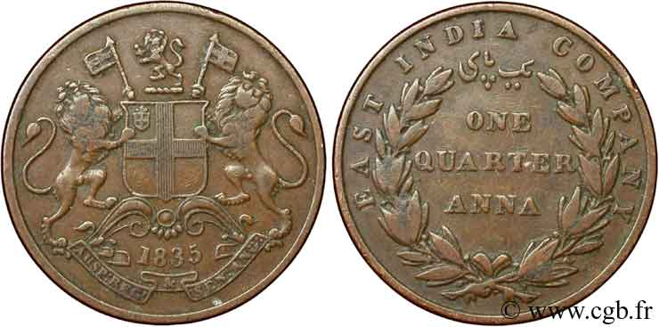 INDES BRITANNIQUES 1/4 Anna East India Company 1835 Bombay TB+
