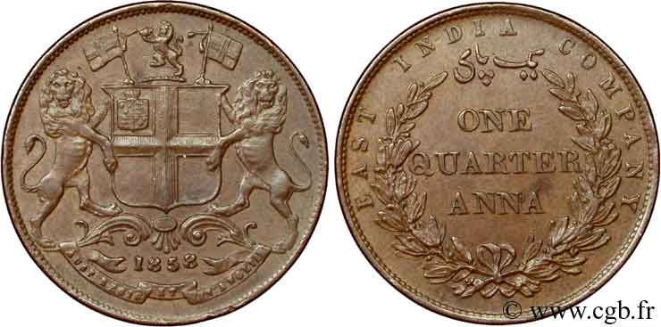 INDES BRITANNIQUES 1/4 Anna East India Company 1858 Bombay SUP