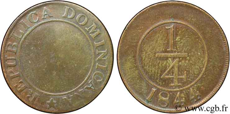 RÉPUBLIQUE DOMINICAINE 1/4 Real 1844  SUP