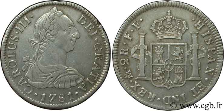 MEXIQUE 2 Reales Charles III 1781 Mexico TTB