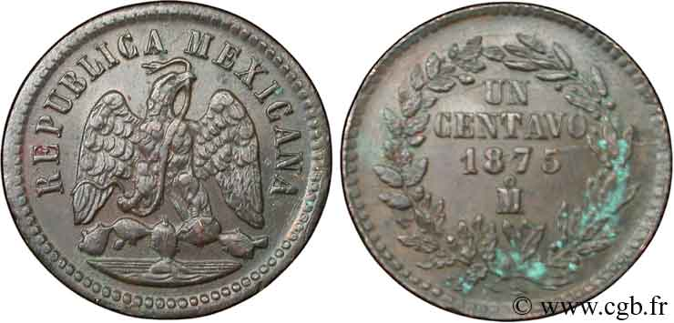 MEXIQUE 1 Centavo Aigle 1875 Mexico TTB+