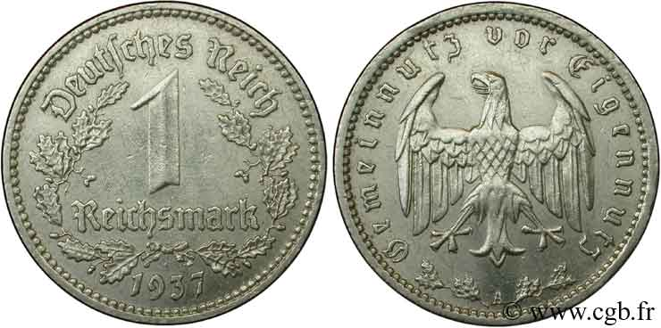 ALLEMAGNE 1 Reichsmark aigle 1939 Berlin SUP