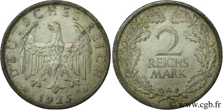 ALLEMAGNE 2 Reichsmark aigle 1925 Berlin SUP