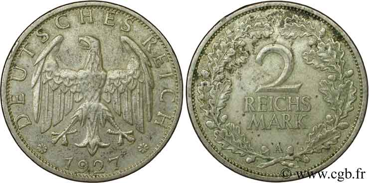 ALLEMAGNE 2 Reichsmark aigle 1927 Berlin SUP