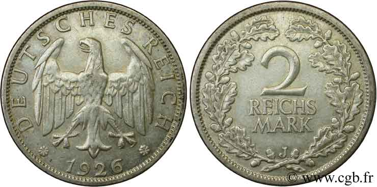 ALLEMAGNE 2 Reichsmark aigle 1926 Hambourg - J SUP