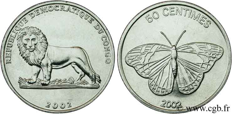 RÉPUBLIQUE DÉMOCRATIQUE DU CONGO 50 Centimes Lion / Papillon 2002  SPL