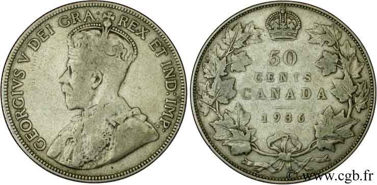 CANADA 50 Cents Georges V 1936  TB