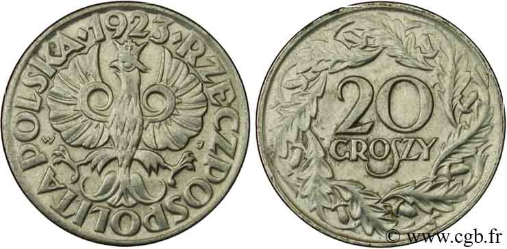 POLOGNE 20 Groszy 1923  SUP