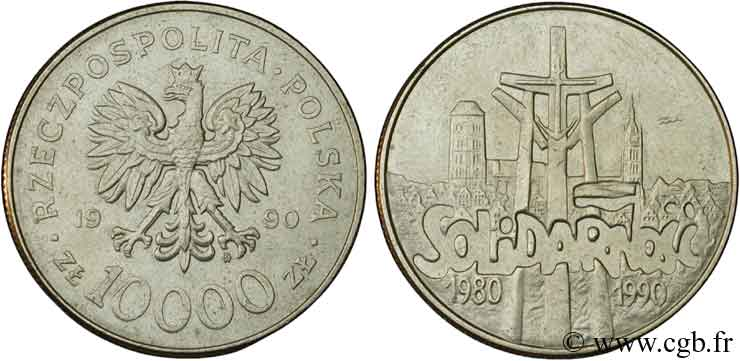 POLOGNE 10000 Zlotych aigle / 10e anniversaire du syndicat Solidarnosc 1990  SUP