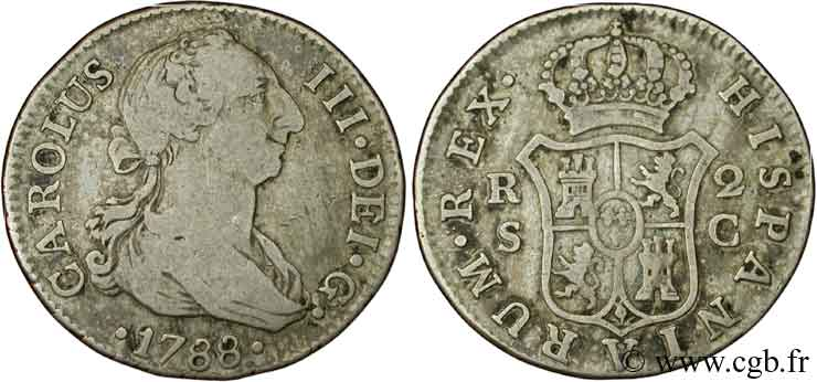 ESPAGNE 2 Reales Charles III 1788 Séville TB