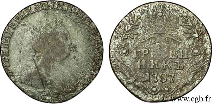 RUSSIE 10 Kopecks Catherine II / couronne 1787 Saint-Petersbourg B