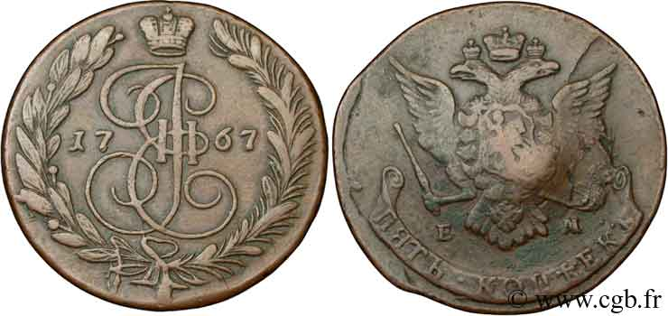 RUSSIE 5 Kopeck aigle bicéphale/monograme de Catherine II 1767 Ekaterinbourg TB