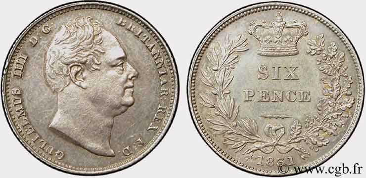 ROYAUME-UNI 6 Pence Guillaume IV 1831  SUP+