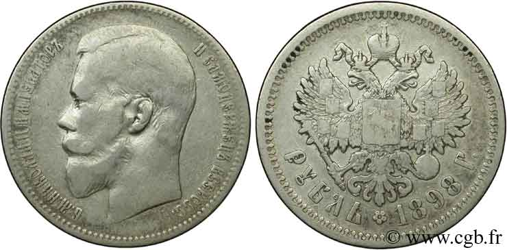 RUSSIE 1 Rouble aigle bicéphale /  Nicolas II 1898 Saint-Petersbourg TB+