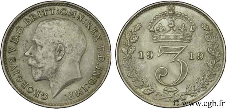 ROYAUME-UNI 3 Pence Georges V / couronne 1919  SPL
