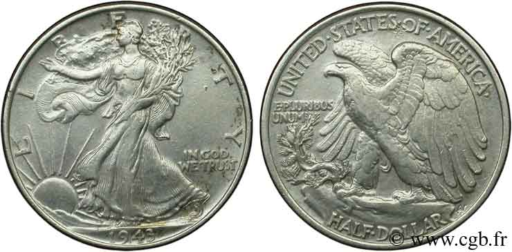 ÉTATS-UNIS D AMÉRIQUE 1/2 Dollar Walking Liberty 1942 Philadelphie TTB