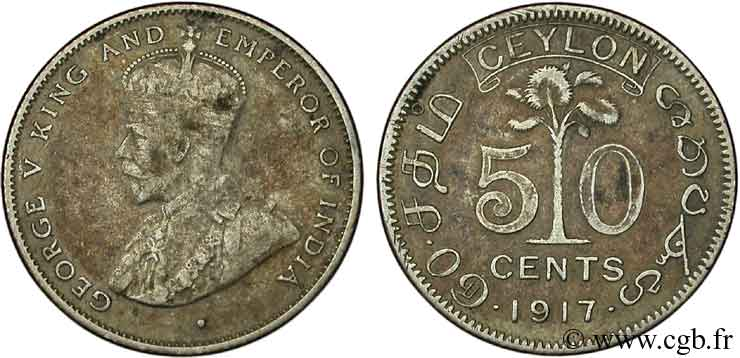 CEYLAN 50 Cents Georges V 1917  SUP
