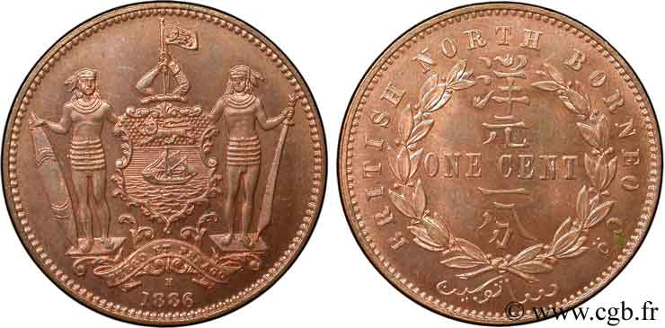 MALAISIE 1 Cent British North Borneo Company 1886 Heaton SPL