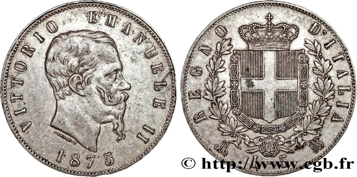 ITALIA 5 Lire Victor Emmanuel II 1875 Milan fwo_128136 Monete del Mondo