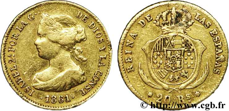ESPAGNE 20 Reales Isabelle II / armes 1861  TB+