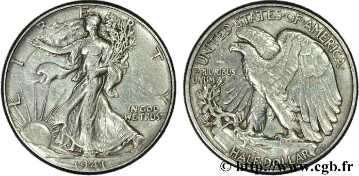 ÉTATS-UNIS D AMÉRIQUE 1/2 Dollar Walking Liberty 1941 Philadelphie TTB