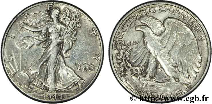 ÉTATS-UNIS D AMÉRIQUE 1/2 Dollar Walking Liberty 1943 Philadelphie TTB+