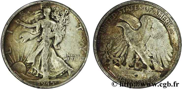 ÉTATS-UNIS D AMÉRIQUE 1/2 Dollar Walking Liberty 1945 San Francisco - S TB