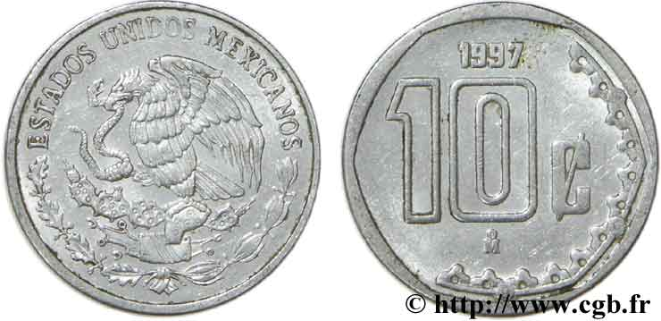 MEXIQUE 10 Centavos aigle 1997 Mexico SUP