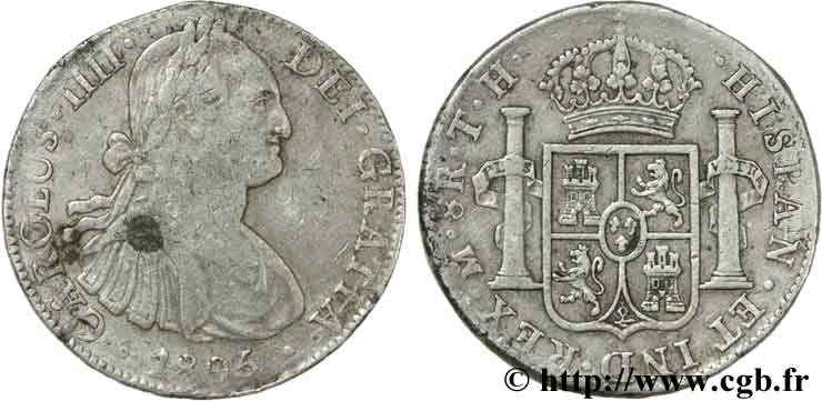 MEXIQUE 8 Reales Charles IIII TH 1806 Mexico TB+