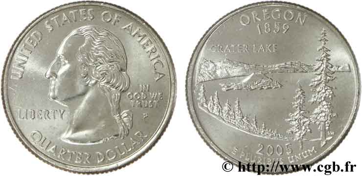 UNITED STATES OF AMERICA 1/4 Dollar Oregon : Crater Lake 2005 Philadelphie MS