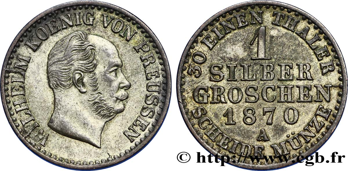 ALLEMAGNE - PRUSSE 1/2 Silbergroschen Royaume de Prusse Guillaume Ier 1870 Berlin SUP