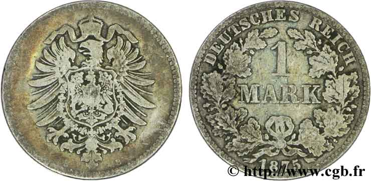 ALLEMAGNE 1 Mark Empire aigle impérial 1875 Hanovre - B TB+