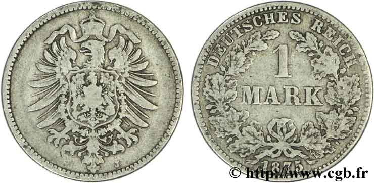 ALLEMAGNE 1 Mark Empire aigle impérial 1875 Hambourg - J TB+