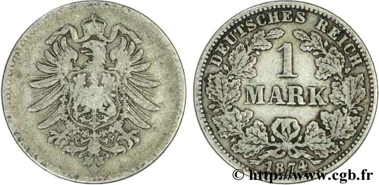 ALLEMAGNE 1 Mark Empire aigle impérial 1874 Karlsruhe - G TB+