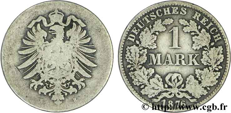 ALLEMAGNE 1 Mark Empire aigle impérial 1876 Darmstadt - H TB