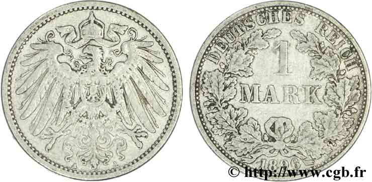 ALLEMAGNE 1 Mark Empire aigle impérial 2e type 1896 Berlin TB+