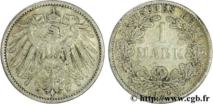 ALLEMAGNE 1 Mark Empire aigle impérial 2e type 1902 Berlin TB+