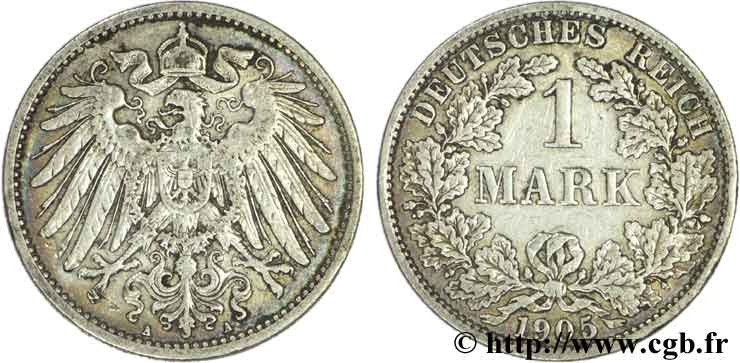 ALLEMAGNE 1 Mark Empire aigle impérial 2e type 1905 Berlin TB+
