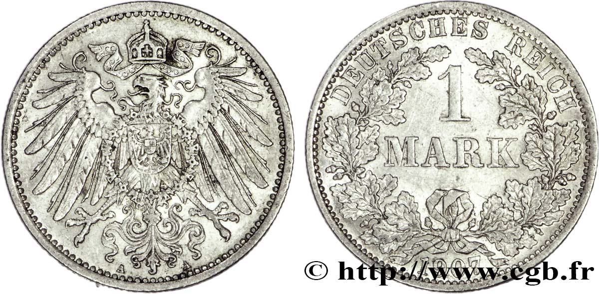 ALLEMAGNE 1 Mark Empire aigle impérial 2e type 1907 Berlin SUP