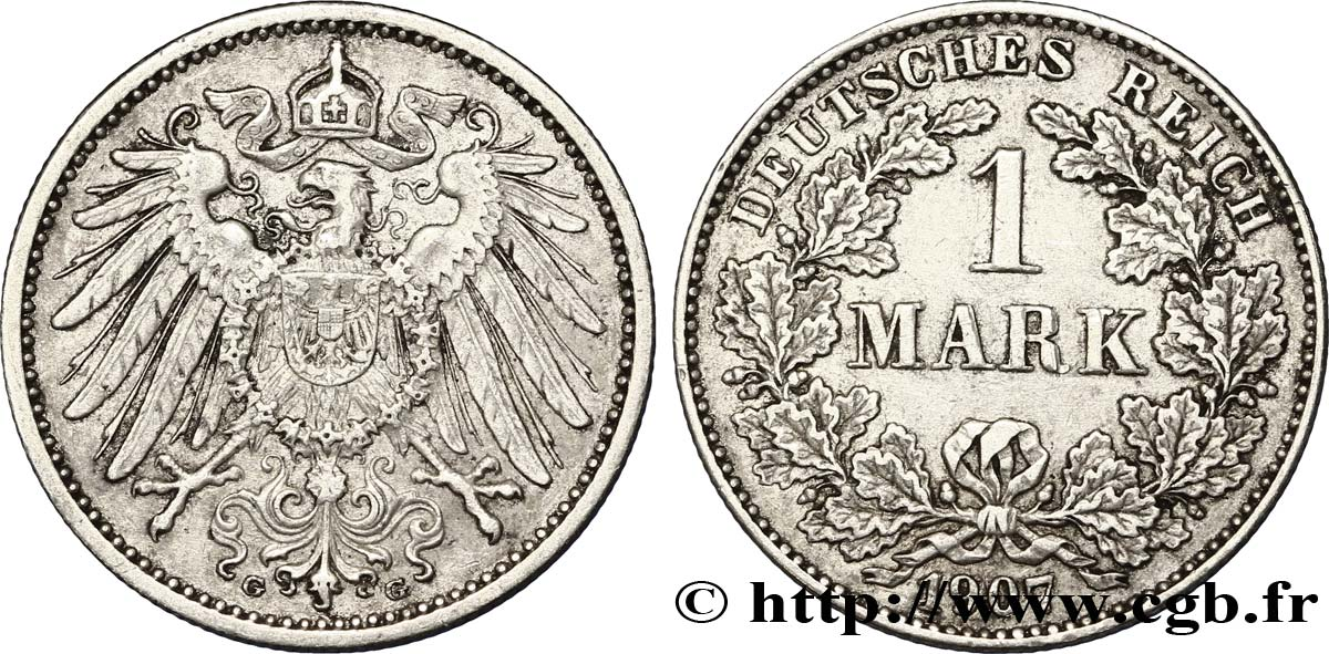 ALLEMAGNE 1 Mark Empire aigle impérial 2e type 1907 Karlsruhe - G TTB