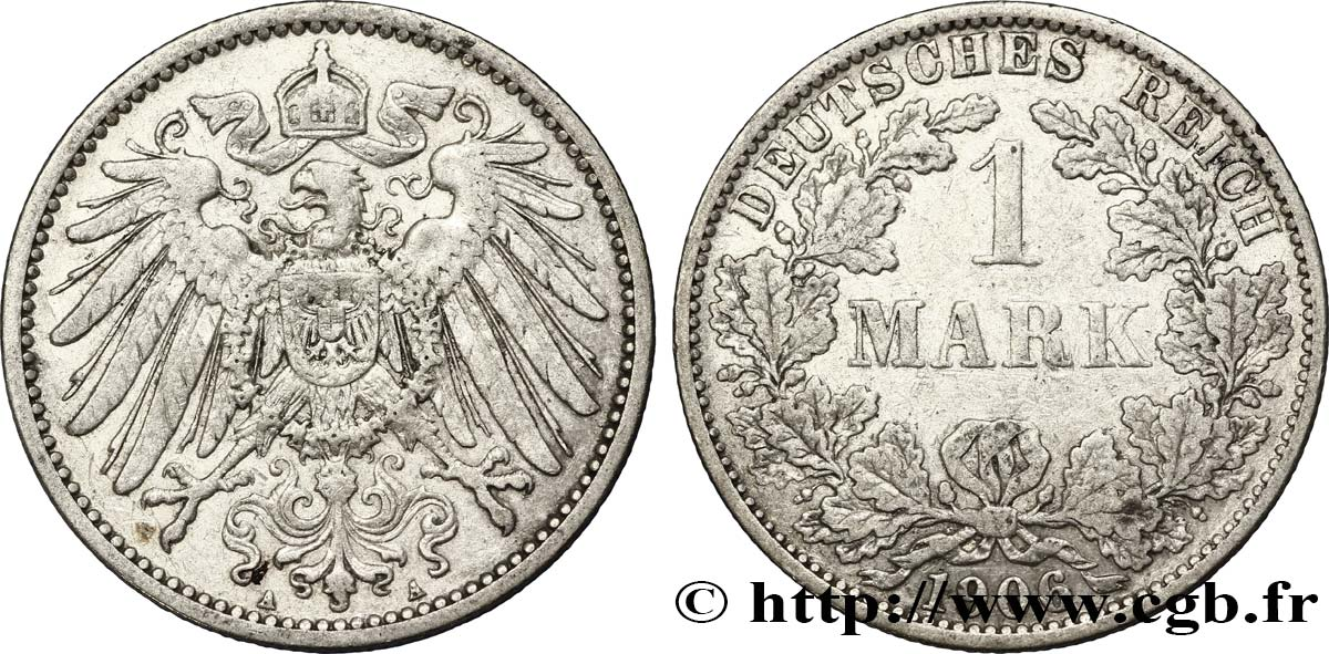 ALLEMAGNE 1 Mark Empire aigle impérial 2e type 1906 Berlin TB+