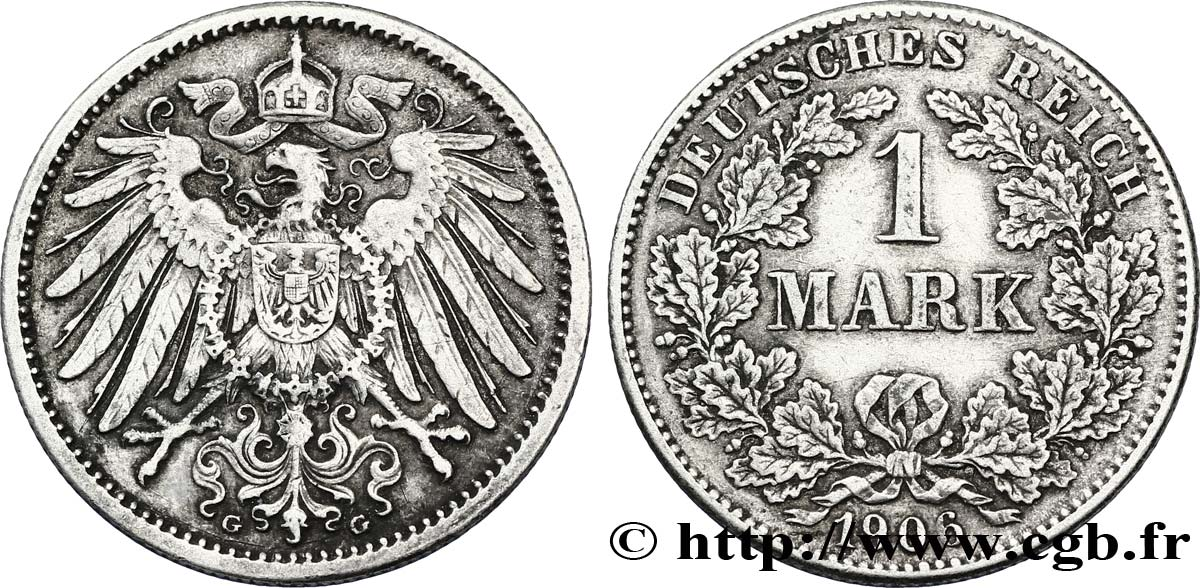 ALLEMAGNE 1 Mark Empire aigle impérial 2e type 1906 Karlsruhe - G TTB