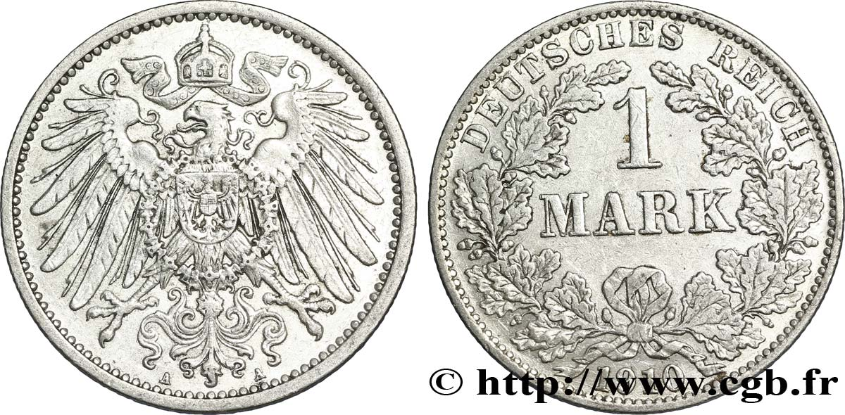 ALLEMAGNE 1 Mark Empire aigle impérial 2e type 1910 Berlin SUP