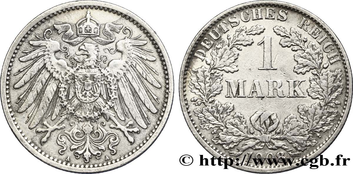 ALLEMAGNE 1 Mark Empire aigle impérial 2e type 1908 Berlin SUP