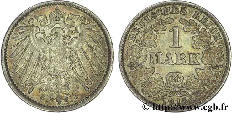 ALLEMAGNE 1 Mark Empire aigle impérial 2e type 1915 Hambourg - J SUP