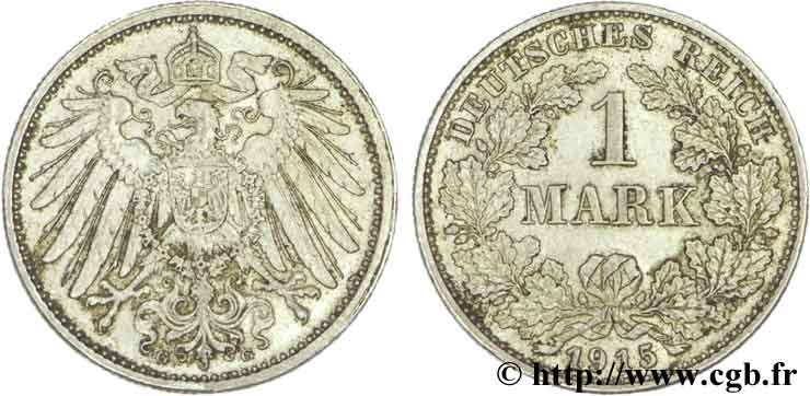 ALLEMAGNE 1 Mark Empire aigle impérial 2e type 1915 Hambourg - J SPL